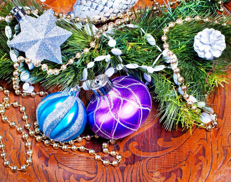 New Year Wood Background With Colorful Decorations Stock Photography