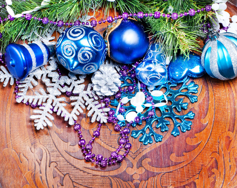 Download New Year Wood Background With Colorful Decorations Stock Images - Image: 27994824