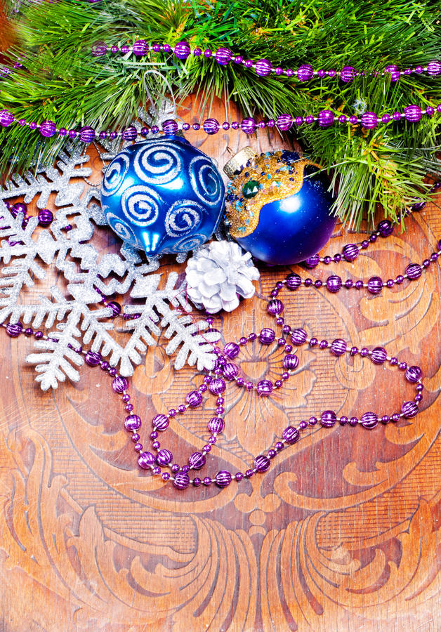 Download New Year Wood Background With Decorations Stock Image - Image: 27994807