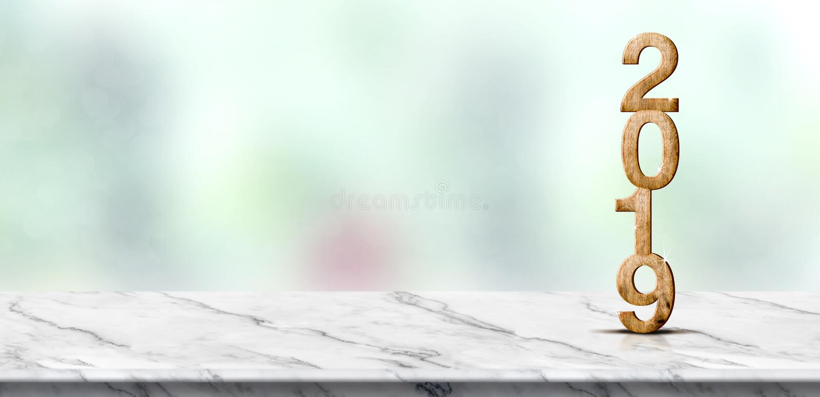 New year 2019 wood number 3d rendering on white marble table a royalty free stock images
