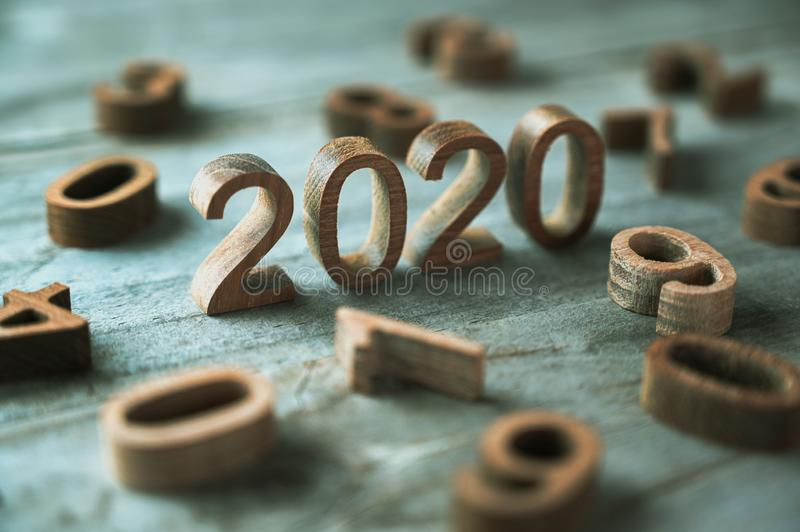 New year 2020 wood number happy new year 2020 concept royalty free stock images