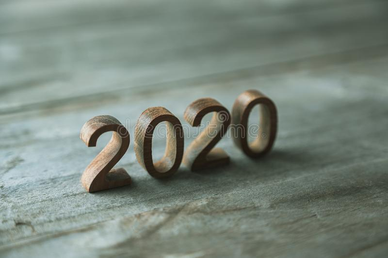 New year 2020 wood number happy new year 2020 concept royalty free stock image