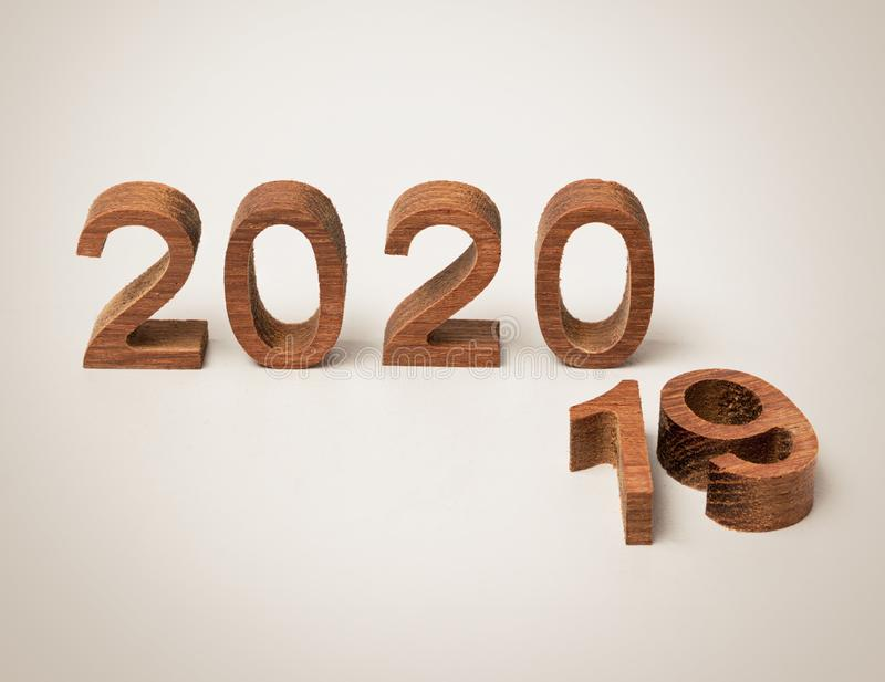 New year 2020 wood number happy new year 2020 concept royalty free stock photo
