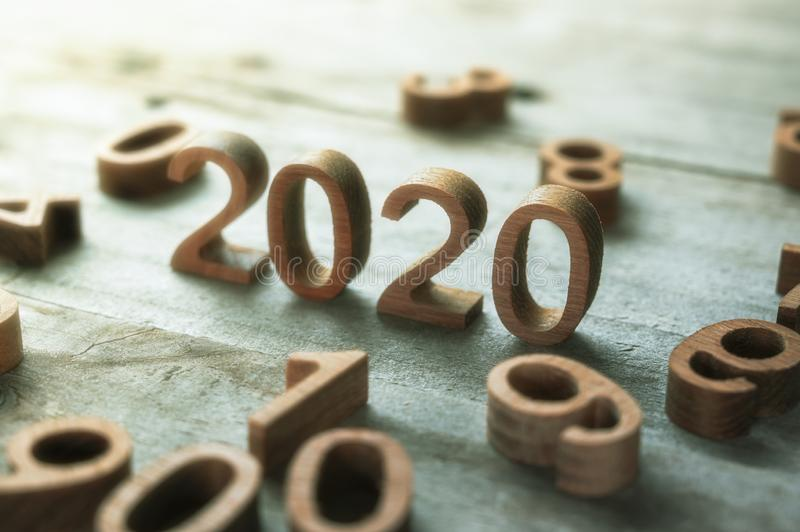New year 2020 wood number happy new year 2020 concept stock images