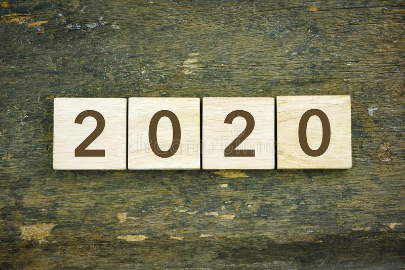 2020 New year on wooden background stock photography