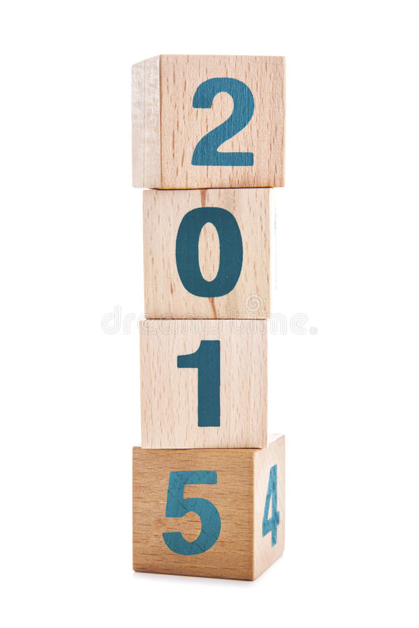 2015 New Year wooden cubes stock photography