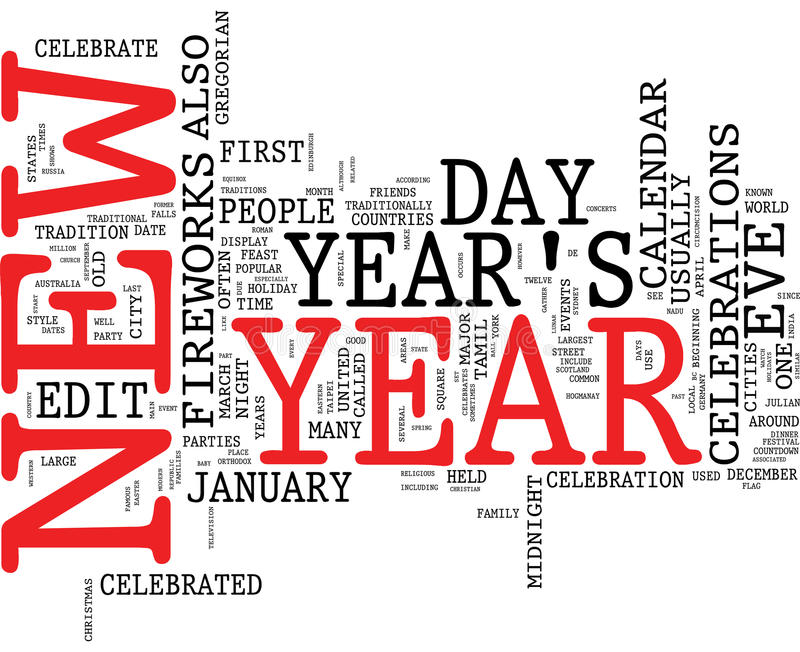 New year word cloud stock images