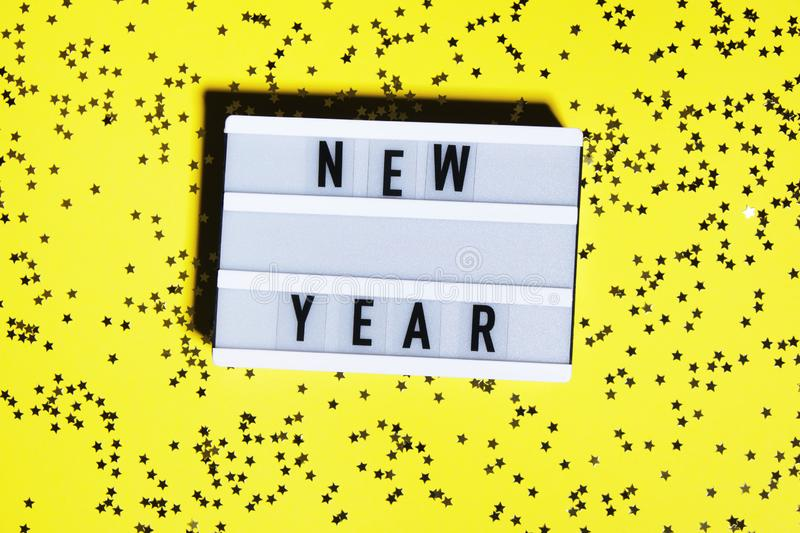 New Year words on modern board stock image