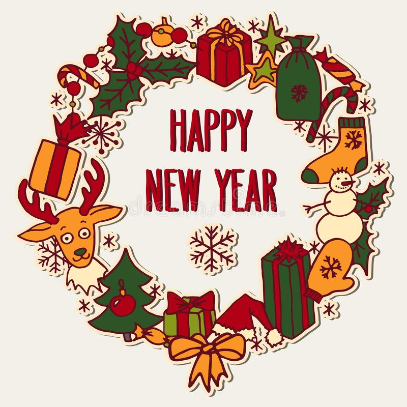 New year wreath with greetings royalty free illustration