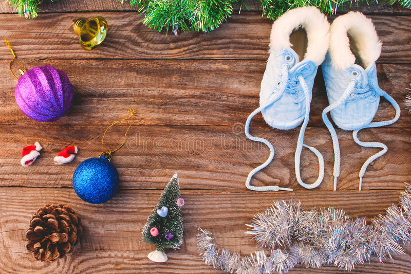 2017 new year written laces of childrens shoes, christmas decorations royalty free stock photos