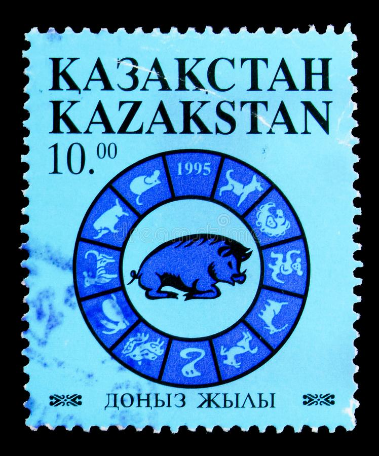 New Year, Year of the Pig, Chinese newyear serie, circa 1995. MOSCOW, RUSSIA - MAY 15, 2018: A stamp printed in Kazakhstan shows New Year, Year of the Pig stock photos