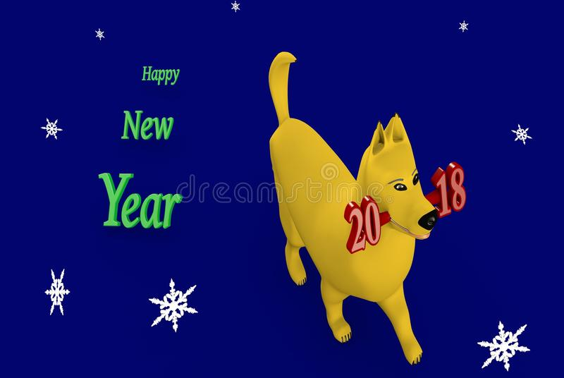 New year 2018-The year of yellow earth dog. royalty free stock photography