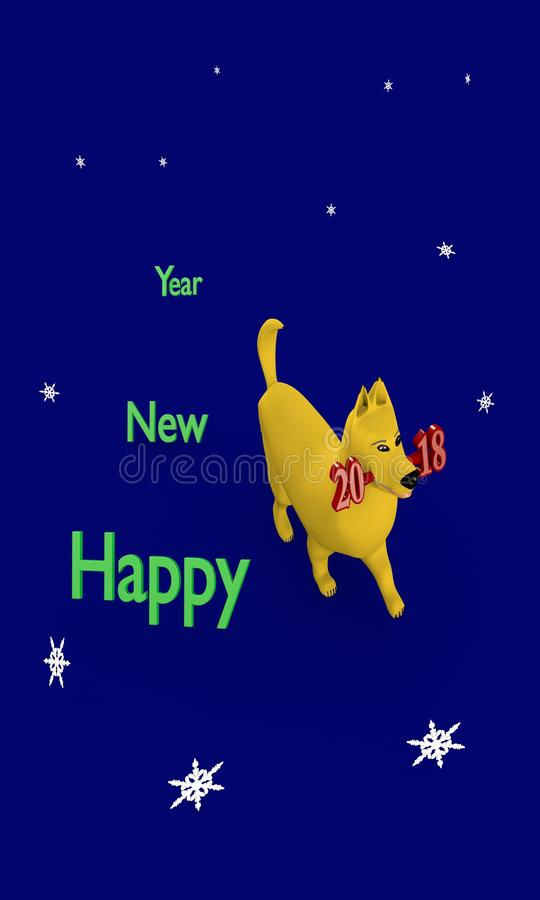 New year 2018-The year of yellow earth dog. stock image