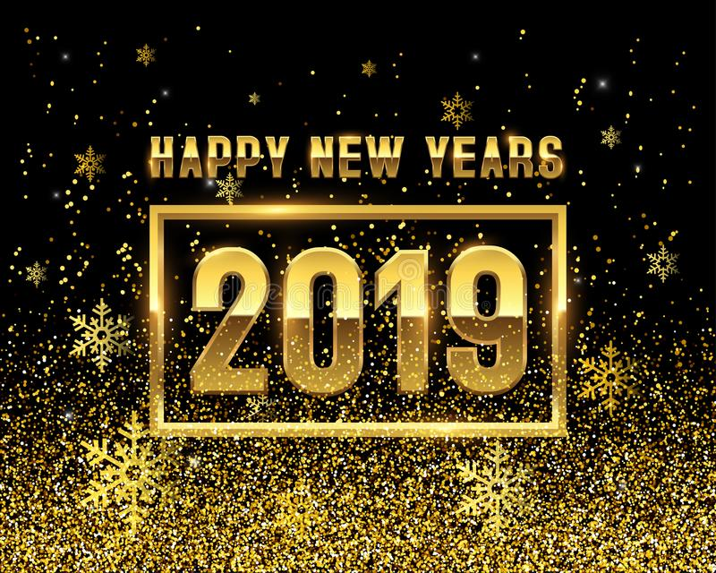 New years 2019 GOLD on black background stock photos