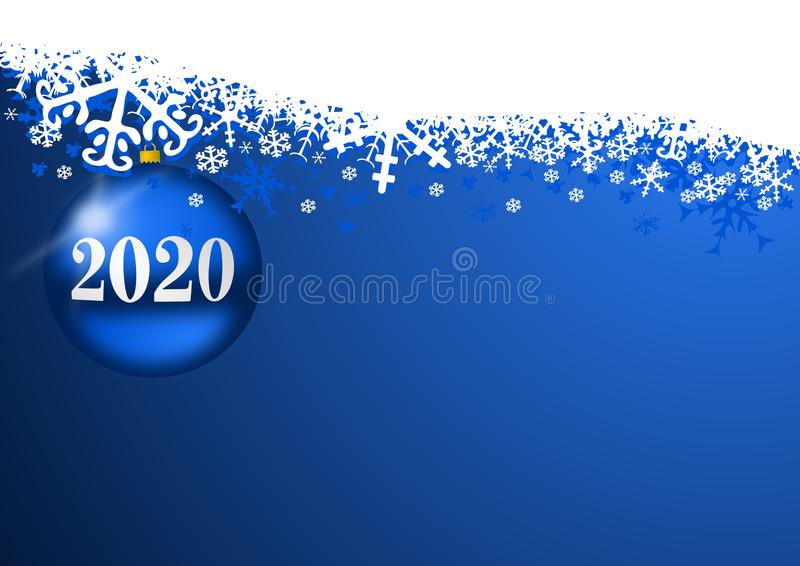 New years 2020 background, illustration, greeting card with blue christmas ball and snowflakes with empty copy space royalty free illustration
