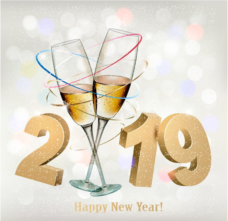 2019 New Years background. 2019 New Years background with champange. Vector stock illustration