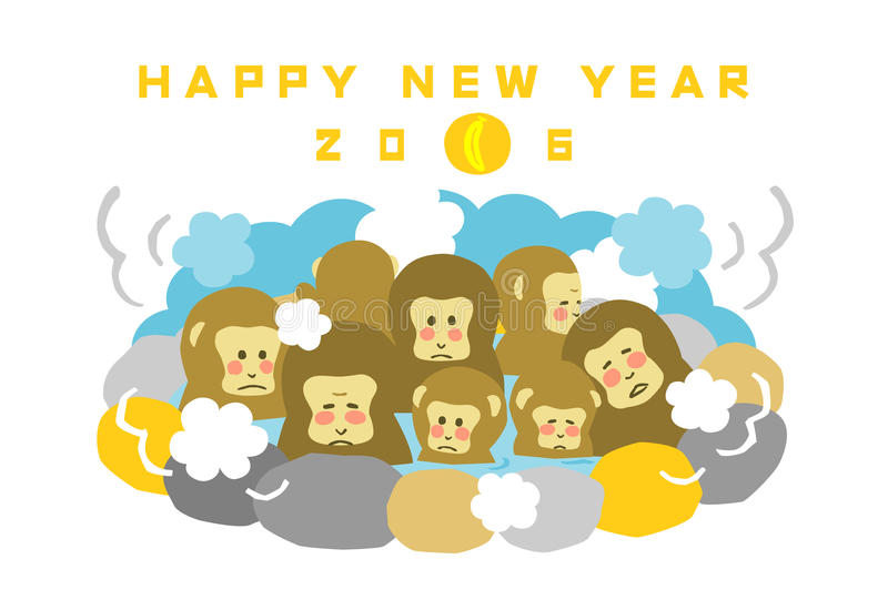 New Years card 2016 monkey. New Years card 2016, year of the monkey, Japanese Macaques bathing in hot springs, file vector illustration
