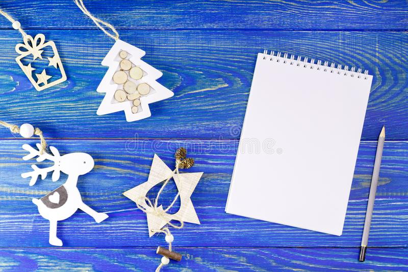 New Years, Christmas decor with notebook for place for text. royalty free stock photography