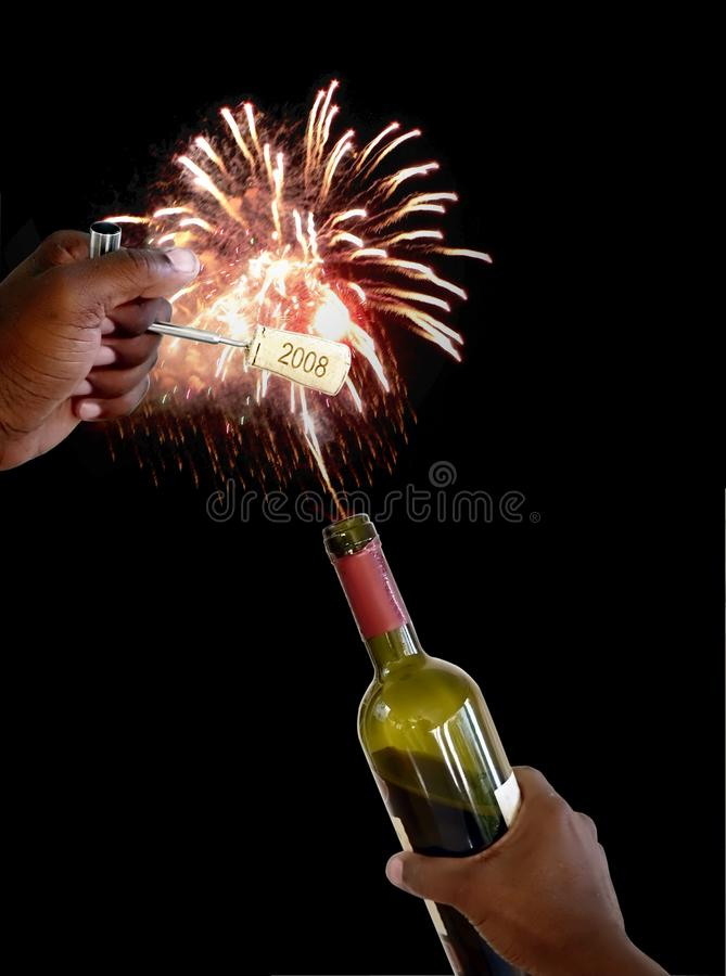 New years cork 4 royalty free stock images