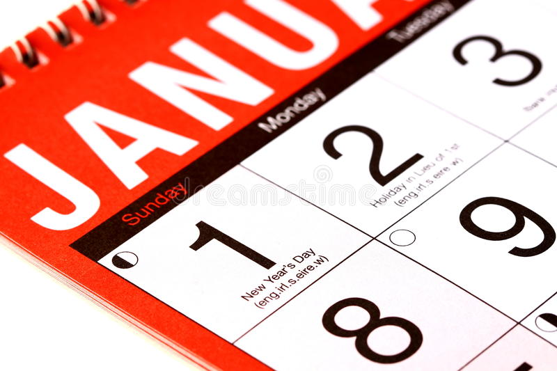 New Years Day On A Calendar Royalty Free Stock Photography