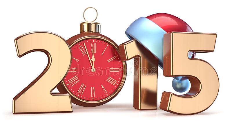 2015 New Years Eve alarm clock Christmas ball decoration. Santa hat Merry Xmas wintertime stylized countdown date. 3d render on white background vector illustration