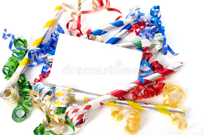 New Years Eve or Birthday Party Invitation. A blank note card surrounded by ribbons, streamers and party noise makers. New Years eve or birthday party theme stock photo
