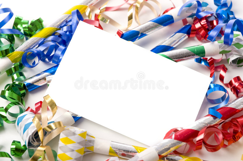 New Years Eve or Birthday Party Invitation. A blank note card surrounded by ribbons, streamers and party noise makers. New Years eve or birthday party theme stock image