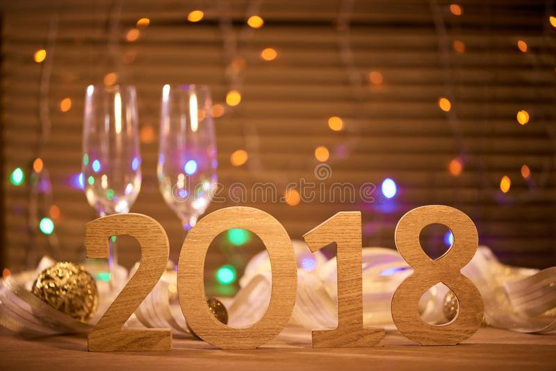 2018. New years eve celebration background with champagne stock photography