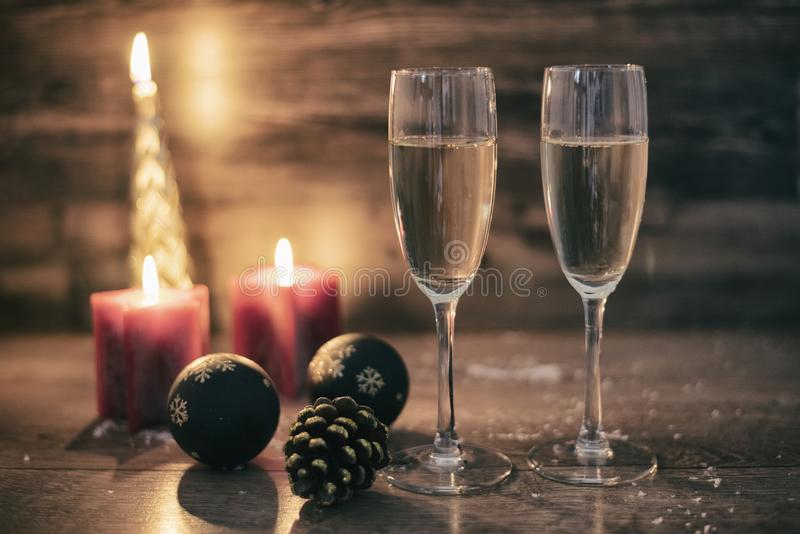 New years eve celebration background with champagne stock photography