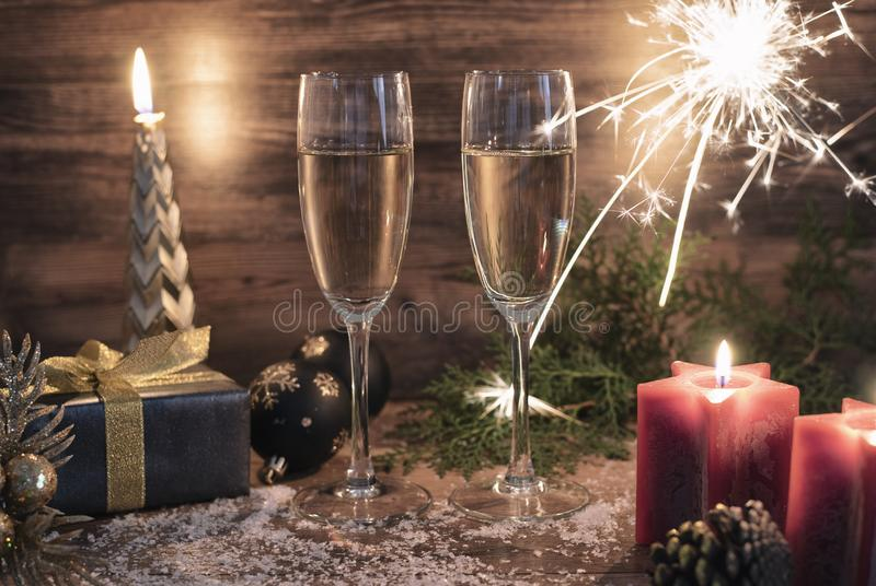 New years eve celebration background with champagne royalty free stock photography