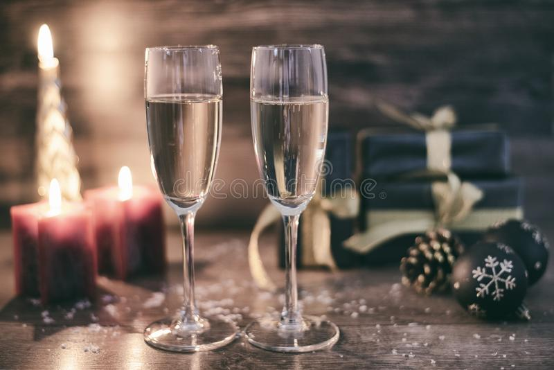 New years eve celebration background with champagne stock images