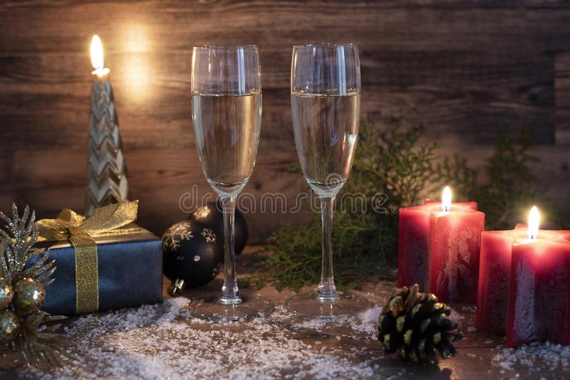 New years eve celebration background with champagne stock photo