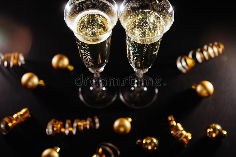 New years eve celebration with champagne royalty free stock photos