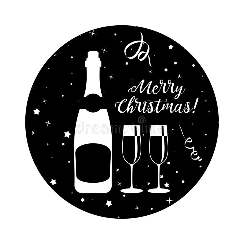 New years eve celebration. Black minimalistic round stickers. For happy new year and merry christmas. Glasses and bottles of champagne, confetti and fireworks vector illustration