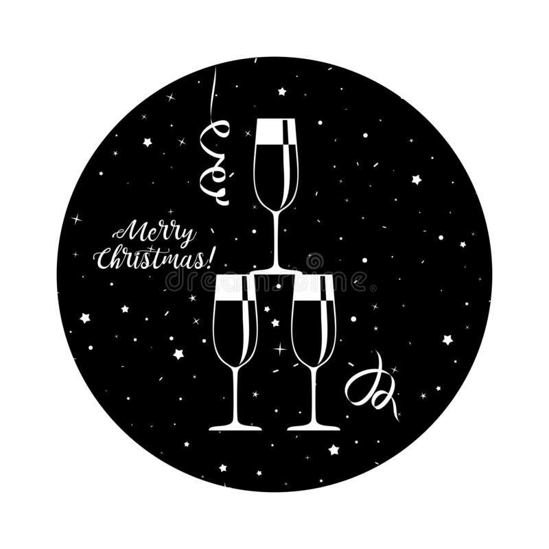 New years eve celebration. Black minimalistic round stickers. For happy new year and merry christmas. Glasses and bottles of champagne, confetti and fireworks stock illustration