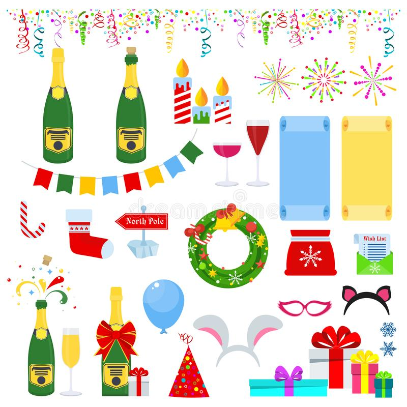 New years eve celebration. Set of icons. For greeting card for happy new year and merry christmas. Glasses and bottles of champagne, confetti and fireworks stock illustration