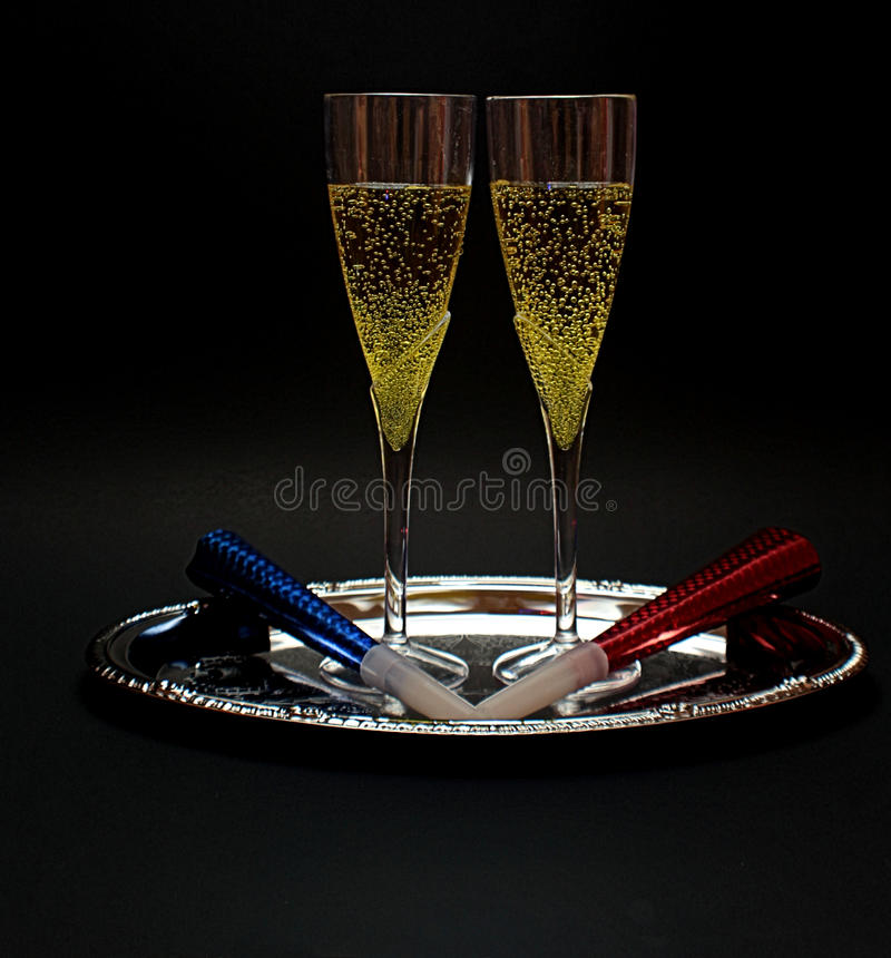 New years Eve Champagne Glasses stock image