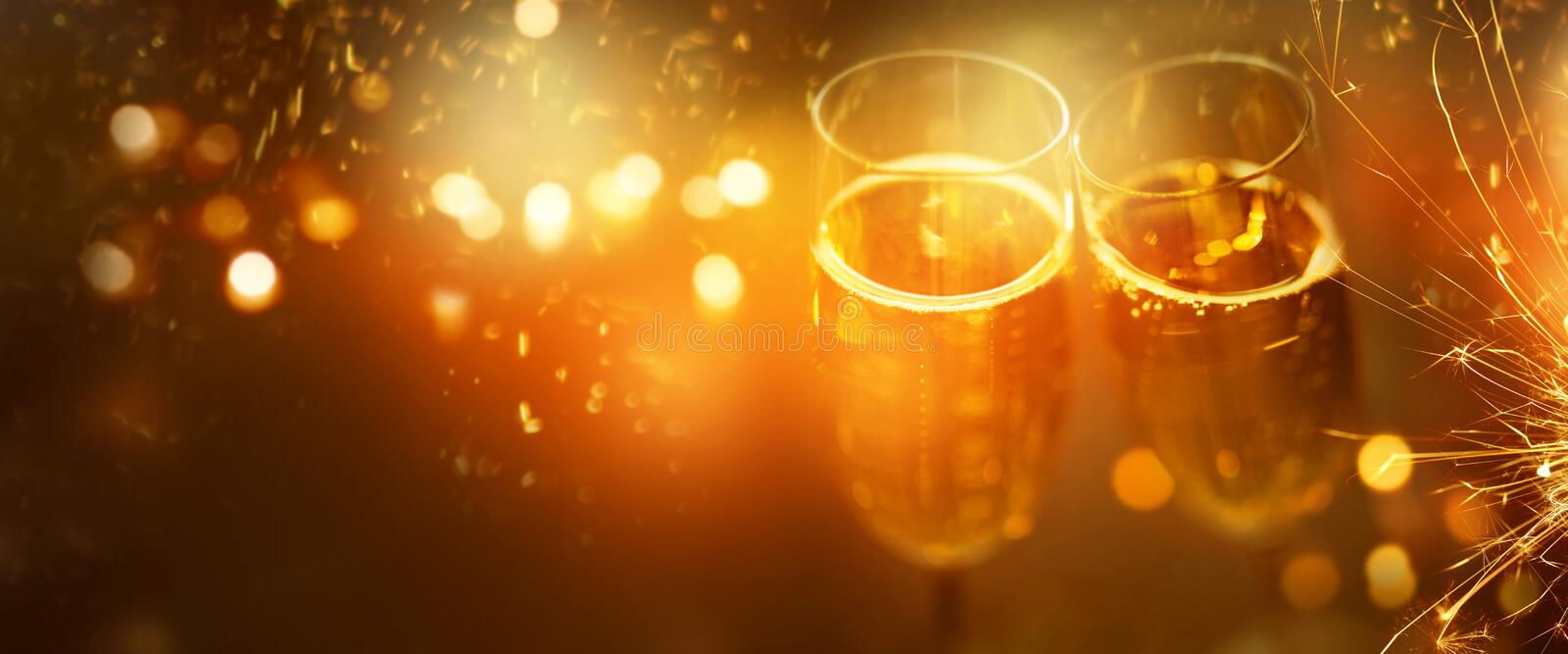 New years eve cheers with champagne royalty free stock images