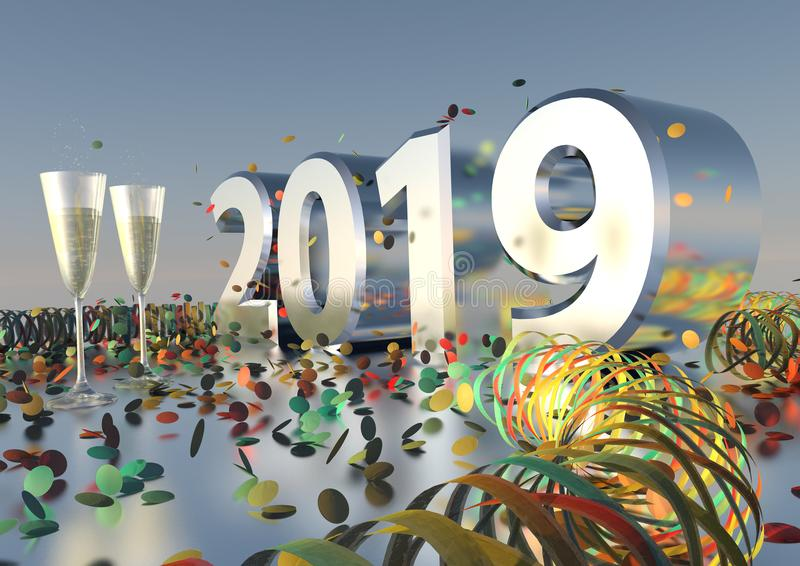 Download 2019 New Years Eve With Confetti Stock Illustration - Illustration of number, wine: 106687871