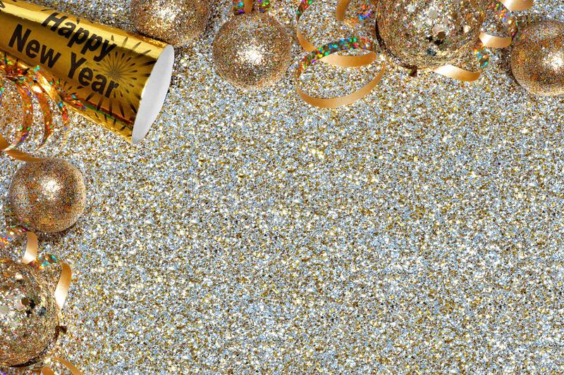 New Years Eve corner border over a golden background stock photography