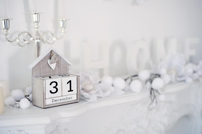 New Years Eve decorations in home stock image