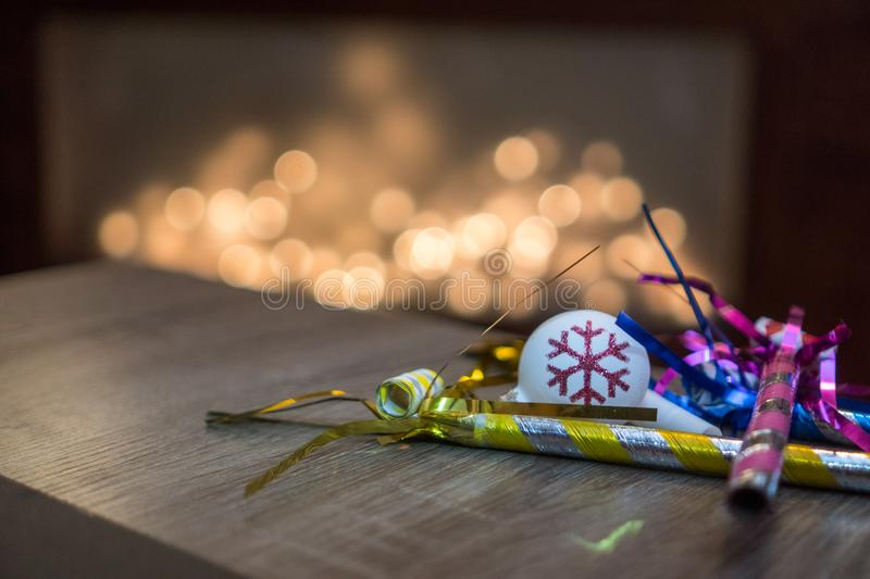 New Years Eve decorations and ornaments stock photography