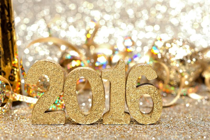 Download New Years Eve 2016 Decorations With Twinkling Light Background Stock Image