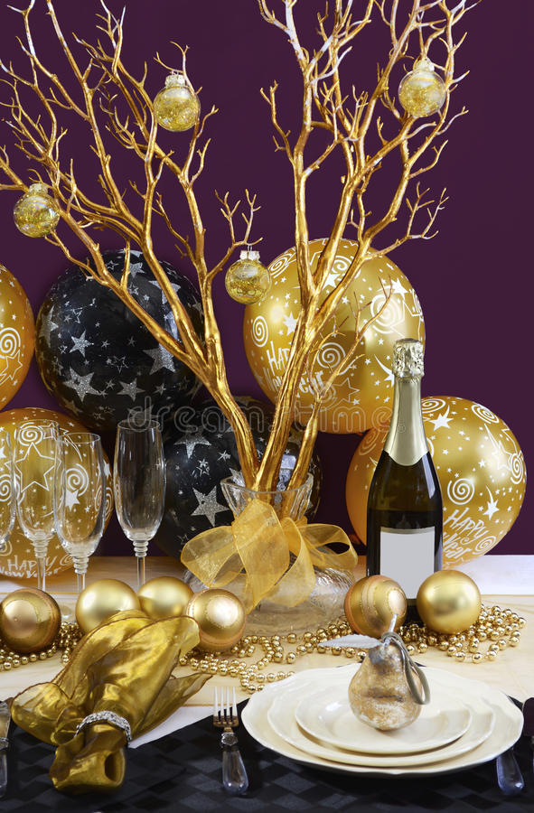 New Years Eve Dinner Table Setting. Stock Photo - Image of ...