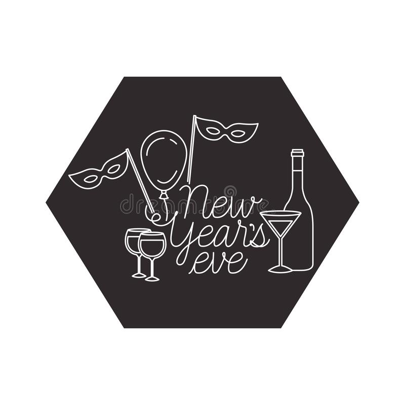 New years eve with elements decorative. Vector illustration desing stock illustration