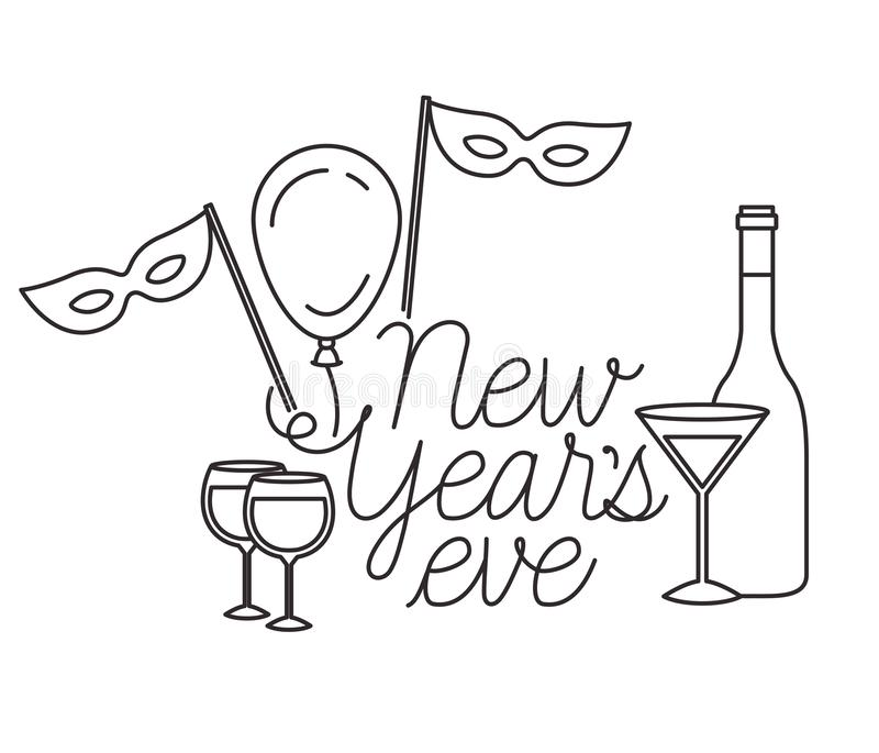 New years eve with elements decorative. Vector illustration desing vector illustration