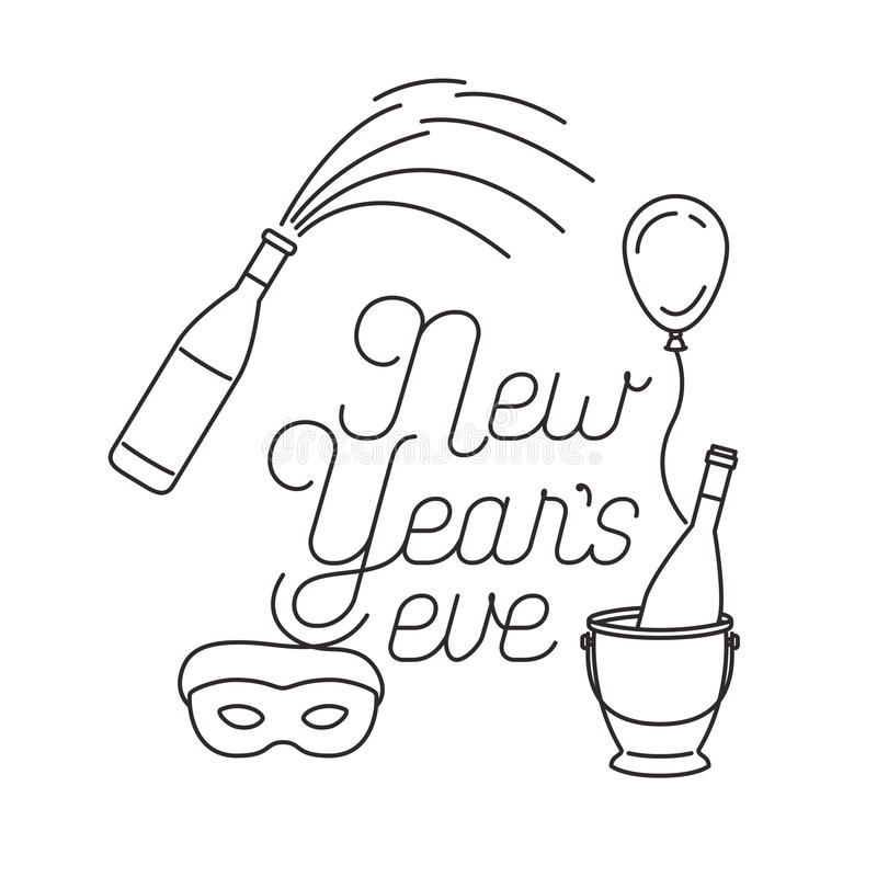 New years eve with elements decorative. Vector illustration desing royalty free illustration
