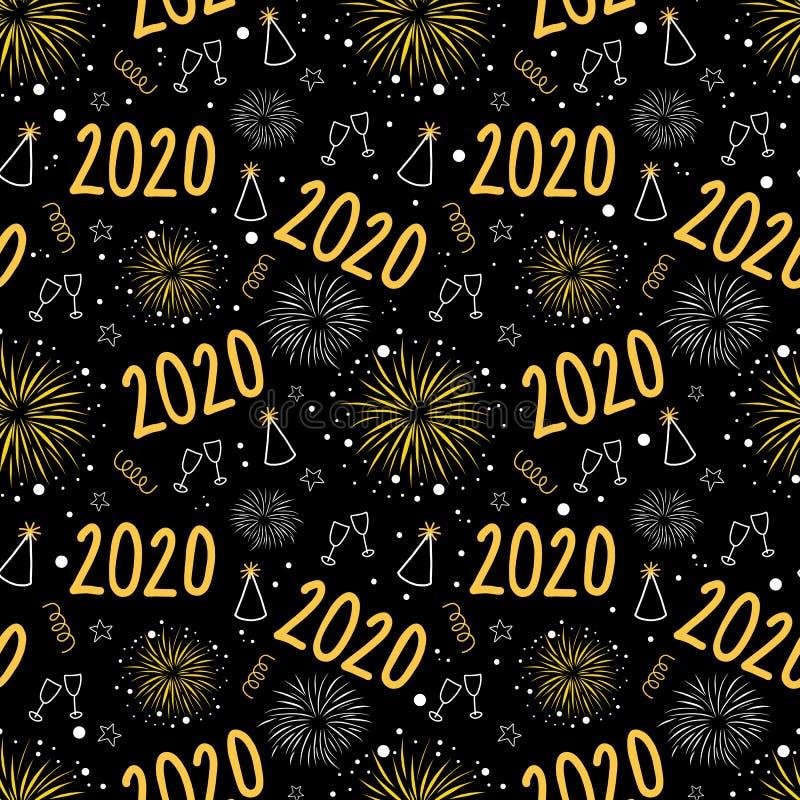 2020 New Years Eve Feuerwerk feiert nahtloses Vektormuster Wiederholter Neujahrsfeiertag mit Champagnerwein stock abbildung