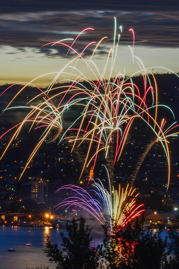 New years eve fire works stock photos