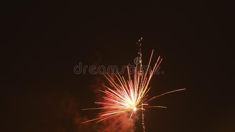 New years eve. Firework explosion royalty free stock photo
